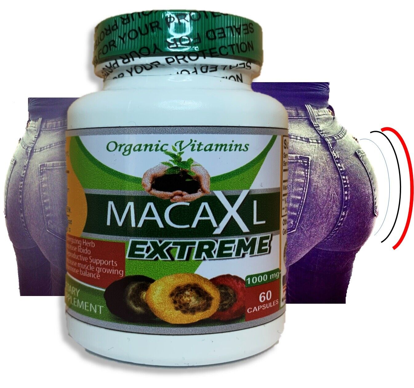 Maca Root Powder capsule for woman red black yellow bigger butt and hips booty 2