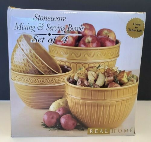 NEW - Retired Real Home STONEWARE Mixing & Serving Bowls SET OF 4 - Yellow/Gold