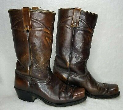 ACME Vtg Brown Leather Square Toe Cowboy Boots Men Size 8 EW Extra Wide #5636