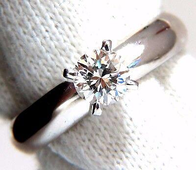 GIA Certified .51ct E.Vs2 natural round diamond ring platinum simplicity +