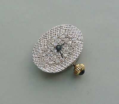 OVAL SHAPE DIAMOND WATCH DIAL WITH MOVEMENT FOR PARTS/REPAIR  17.0 X 12.7 MM