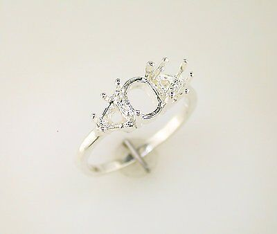 - Ladies Trillion Accented Oval Ring Setting Sterling Silver