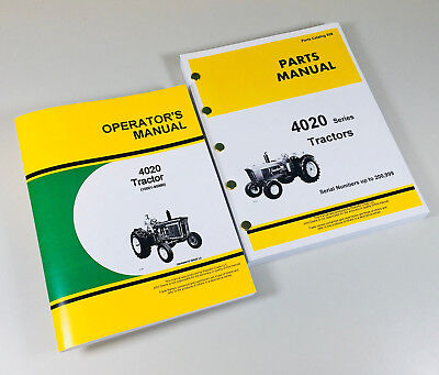 Operator Parts Manual Set For John Deere 4020 Tractor Catalog Sn10001-90999