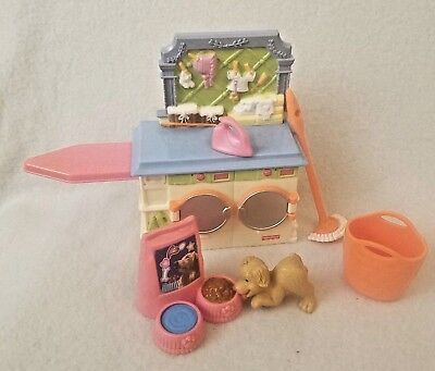 Fisher Price Loving Family Dollhouse Laundry Room Washer Dryer Mop Basket Dog +