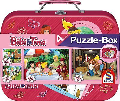 Bibi und Tina 4 Kinderpuzzle im Metallkoffer Schmidt Spiele 56509