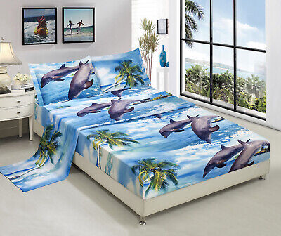 HIG 3D Sheet set -4 Pieces Dolphin And Palm Tree Printed Sheet Sets Queen King Dolphin Sheet Set