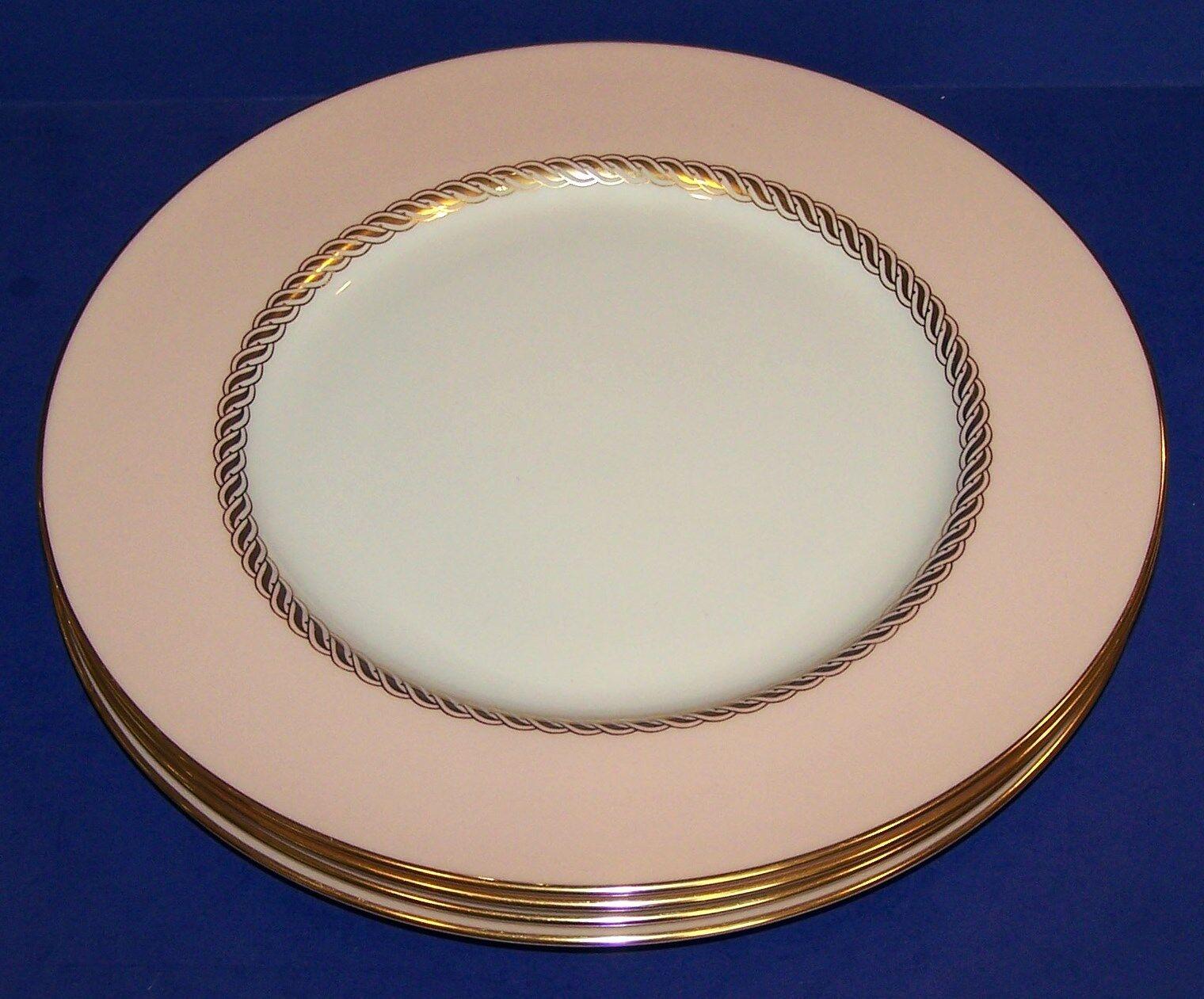 """STUNNING VINTAGE SET OF 4 LENOX X-444 CARIBBEE 10 1/2"""" DINNER PLATES"""