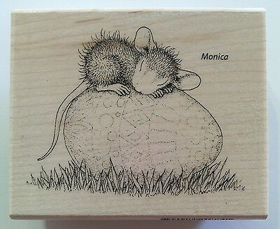 "House Mouse by Stampendous ""Easter Egg Nap"" WM Rubber Stamp"