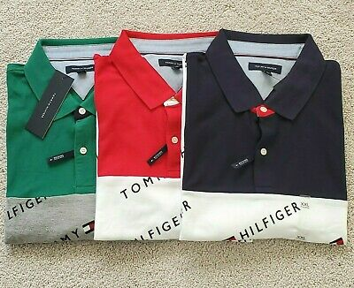 Mens Tommy Hilfiger Button Front XXL Polo Shirt, All over TH and Logo