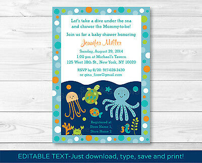 Under the Sea Octopus Crab Turtle Nautical Baby Shower Invitation EDITABLE - Under The Sea Baby Shower Invites
