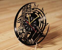Jazz Band Saxophone Wall Clock I Love Jazz Bass Music Vinyl Record Wall Clock