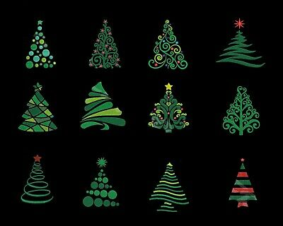 Christmas Trees EMBROIDERED  12 QUILT BLOCKS Beautiful Set ** ()