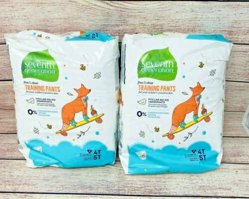 Seventh Generation Free & Clear Training Pants Diapers Size 4T-5T, 38lbs, 34 ct