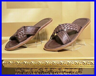NEW VERSACE JEANS COUTURE BROWN LEATHER WICKER SANDALS SHOES  IT 41 - US 8
