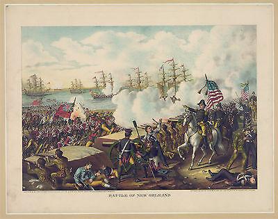1890 Battle of New Orleans, Art Print, Andrew Jackson, Horses Ships, 20