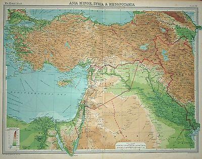 1920 LARGE MAP ~ ASIA MINOR SYRIA & MESOPOTAMIA ~ 23