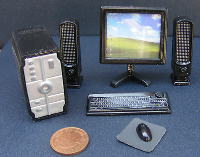 1:12 Scale Black Dolls House Miniature Full Computer System Office Accessory