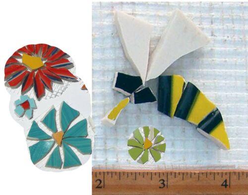 Flowers & Yellow Jacket, Bee  Mosaic Tiles Broken Cut China Plate Mosaics