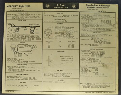 1953 Mercury Eight Tune Up Chart Wiring Diagram Monterey Original Not a Reprint