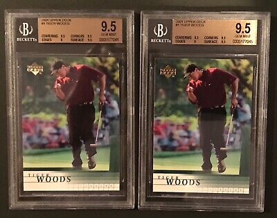 Lot of (2) 2001 Upper Deck #1 Tiger Woods Rookie Golf Card Graded BGS 9.5