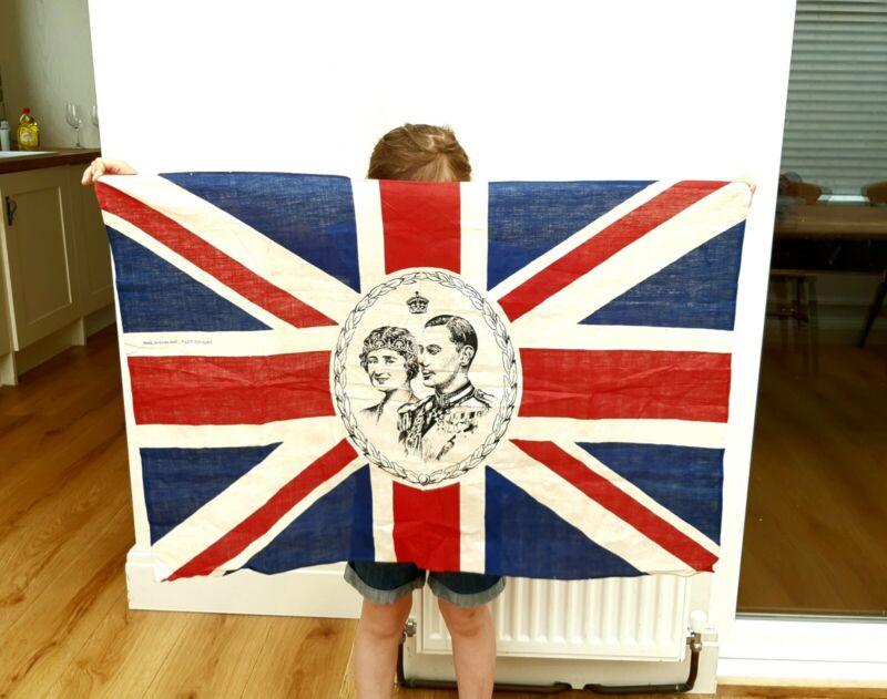 Large Original Linen / Cotton Union Jack Flag - King George VI - Made in England