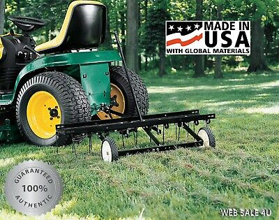 "Tow Behind Lawn Dethatcher Spring Tines Yard Grass Aerator Tractor Hitch 40"" USA"
