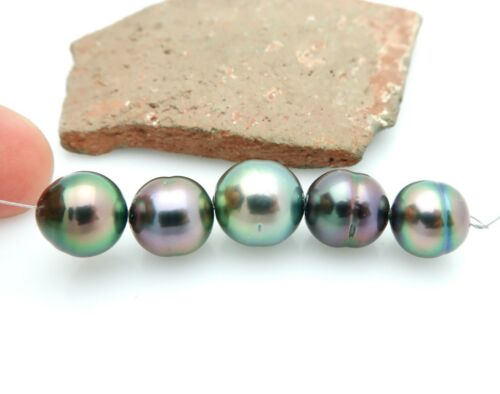 METALLIC WILD RAINBOW AA+ TAHITIAN BLACK CULTURED 9-10.3mm PEARLS 6.52grams