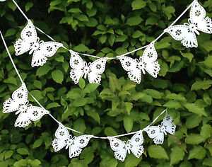 White Butterfly Bunting Garland Banner Party White Wedding Decoration 2.5 Metres