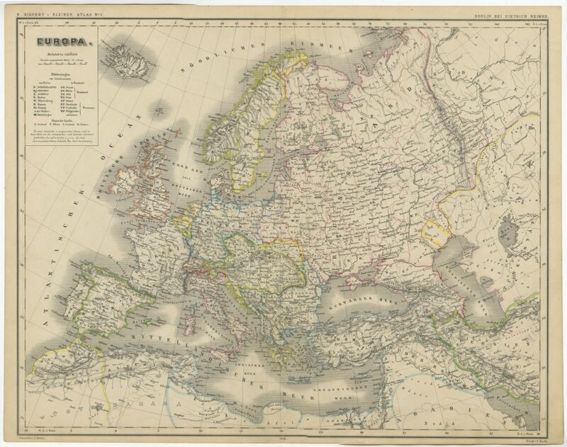 Antique Map of Europe by Kiepert (c.1870)