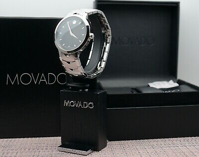 Swiss Movado Luno Black Dial Stainless Steel Model # 0607041 Men's Wrist Watch