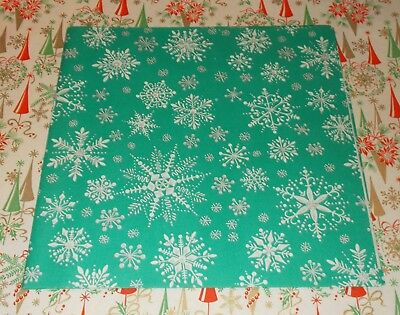 VTG CHRISTMAS WRAPPING PAPER GIFT WRAP MCM 1950 AQUAMARINE SNOW FLAKES TEAL NOS - Teal Wrapping Paper