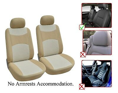 2 Front Bucket Fabric Car Seat Cover Compatible For Infiniti- M1410 (Tan Bucket Seat Cover)