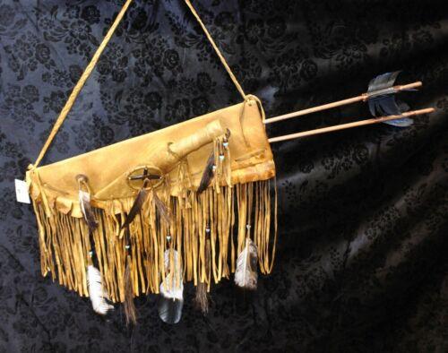 Native American Navajo Handmade Buck skin Flat Quiver & 2 Arrows Medicine Wheel