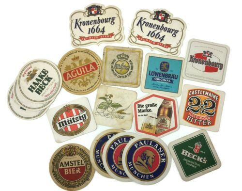Vintage Lot of 18 GERMAN & EUROPEAN Beer COASTERS Drink Mats MUTZIG Kronenbourg