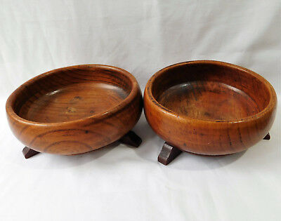 Pair of antique oak wood bowls with feet Wooden church offertory dishes 7