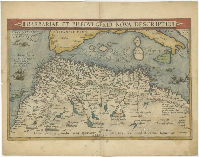 Antique Map of North Africa by Ortelius (c.1600)