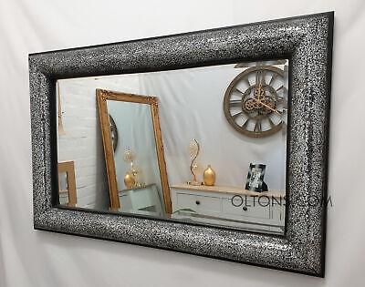 Crackle Lazo Diseño Pared Espejo Marco Negro Mosaico Plata Cristal 120X80cm Mano