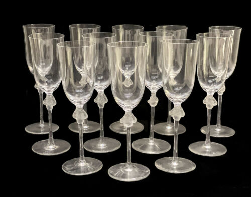 12 Lalique France Cut Glass Fluted Champagne Goblets in Roxane