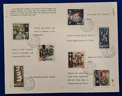 1965 400TH ANNIVERSARY OF THE GREAT SIEGE OF MALTA COMMEMORATIVE PHILATELIC CARD