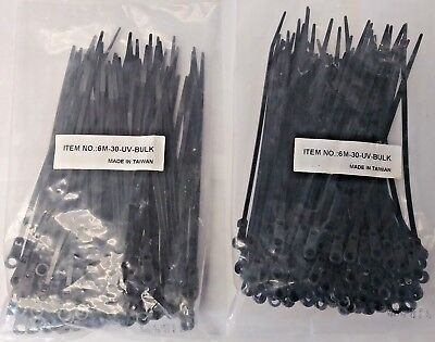 Gardner Bender 6m-30-uv-bulk 6 Black Wire Tie With Mounting Hole 2 Bags Of 100