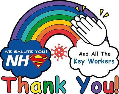 Thankyou NHS Rainbow NHS virus Covid clap for carers CAR VAN WINDOW STICKER