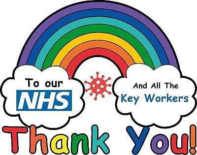 thankyou NHS Rainbow NHS virus Covid Thankyou CAR VAN WINDOW STICKER !!! X1