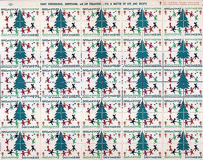 1969 USA Christmas Seal . Sheet of 100 . Mint Never Hinged