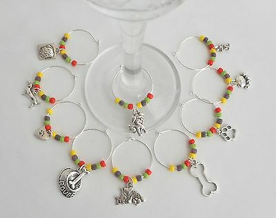 """10 NEW  VARIOUS """"DOG"""" WINE RING CHARMS--SO SO CUTE-GREAT PRICE"""