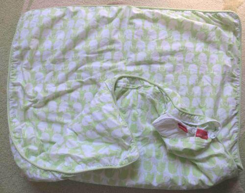 Amy Coe Green & White Elephants Reversible MOD Baby Crib Duvet & Filler EUC