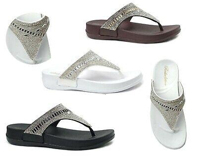 - NEW Women's Fashion Jewel Toe Thong Wedge flip flop Trendy Beaded midsole sandal