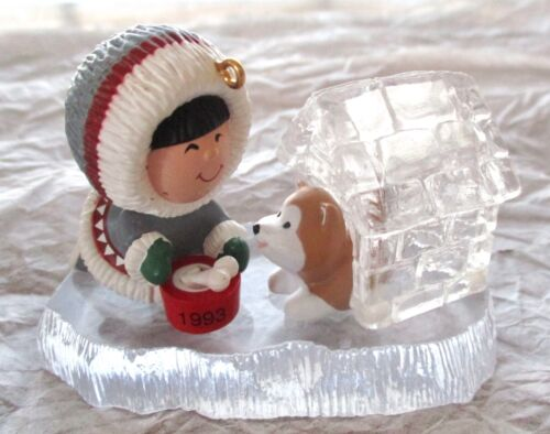 HALLMARK FROSTY FRIENDS ESKIMO ORNAMENT 1993 ICE DOGHOUSE IGLOO 14th IN SERIES