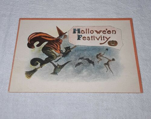 VINTAGE HALLOWEEN FESTIVITY POSTCARD WITCH BLACK CAT JACK O LANTERN UNUSED