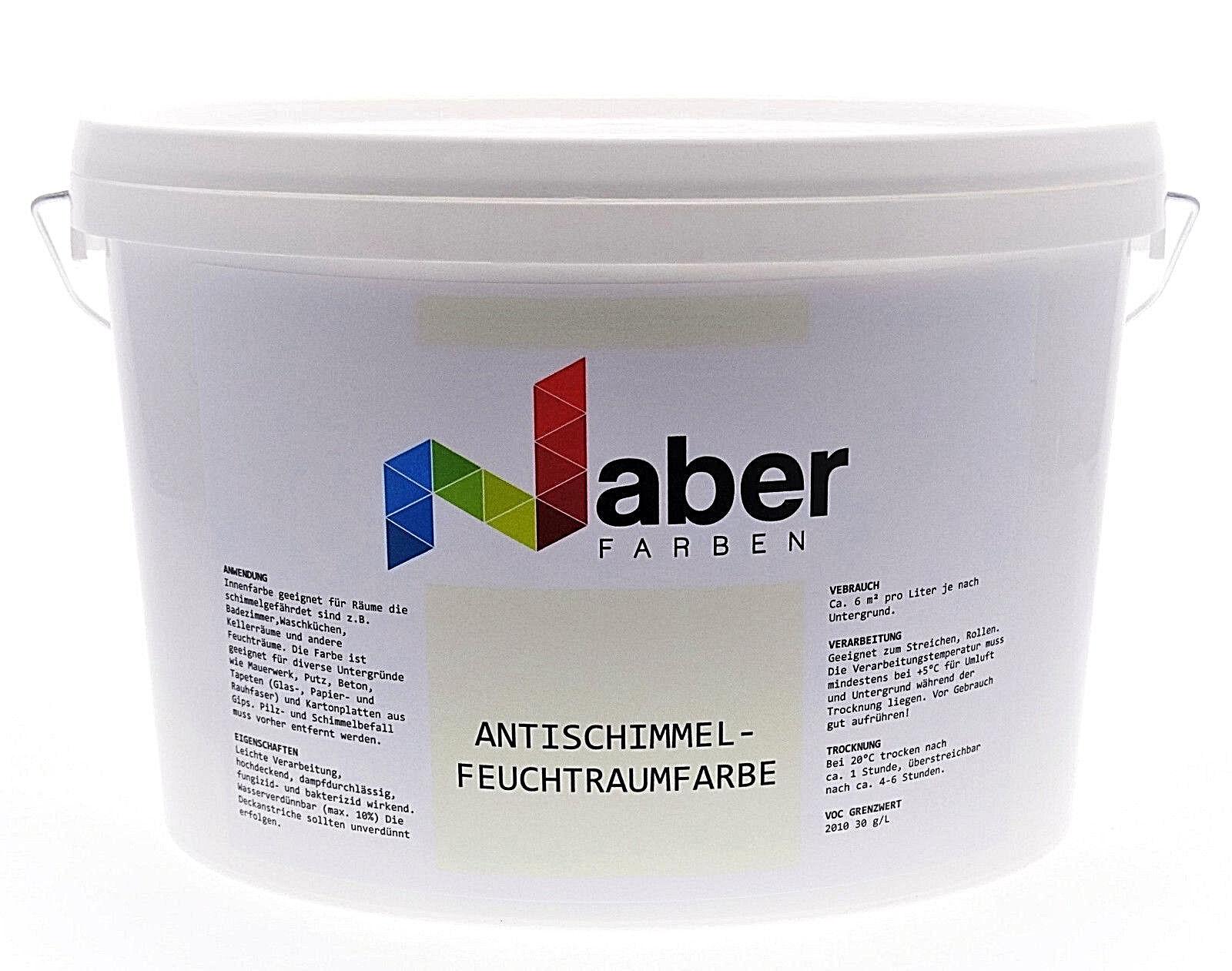 (4,44 €/L) 2,5 Liter - Antischimmel-Feuchtraumfarbe - WEISS - Matt