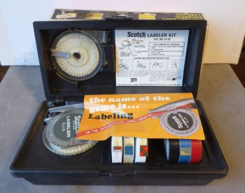Vintage Scotch LABEL MAKER  EJ-29 &  Labeling Tape kit
